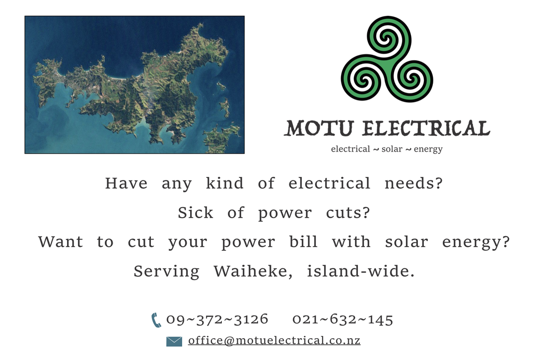 Photo showing Waiheke and with phone numbers of the business. 027 700 1885 for all electrical and solar needs on Waiheke Island